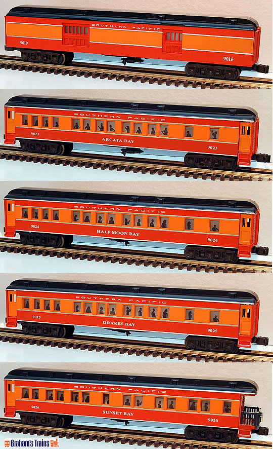Lionel 6-19019, 6-19023, 6-19024, 6-19025, 6-19026 Southern Pacific Daylight 5-Car Madison Passenger Set