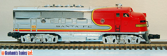MTH 30-4144-1 Santa Fe Chrome F-3 Diesel Deluxe Ready-To-Run Passenger, Set ProtoSound? 2.0