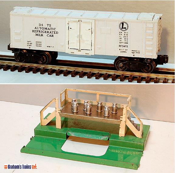 Lionel 3472 Operating Milk Car and 3462P Platform - Postwar