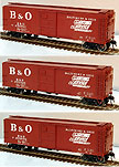 Atlas-O Baltimore & Ohio 40' Steel Re-Built Boxcar, Set of 3, 2-Rail